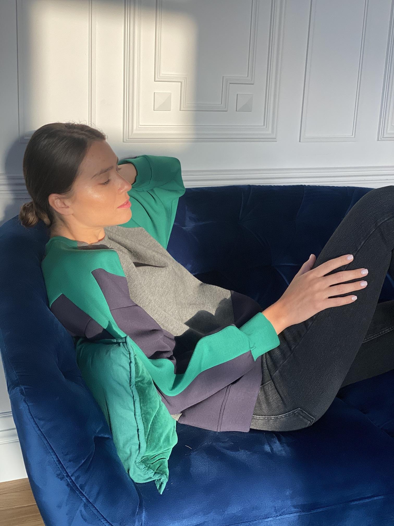 Толстовка, Ballerina, 9232 (серый с зеленым)