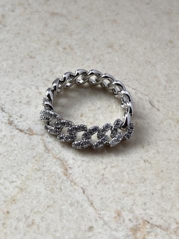 Кольцо Вивьен с цирконами, серебряный цвет