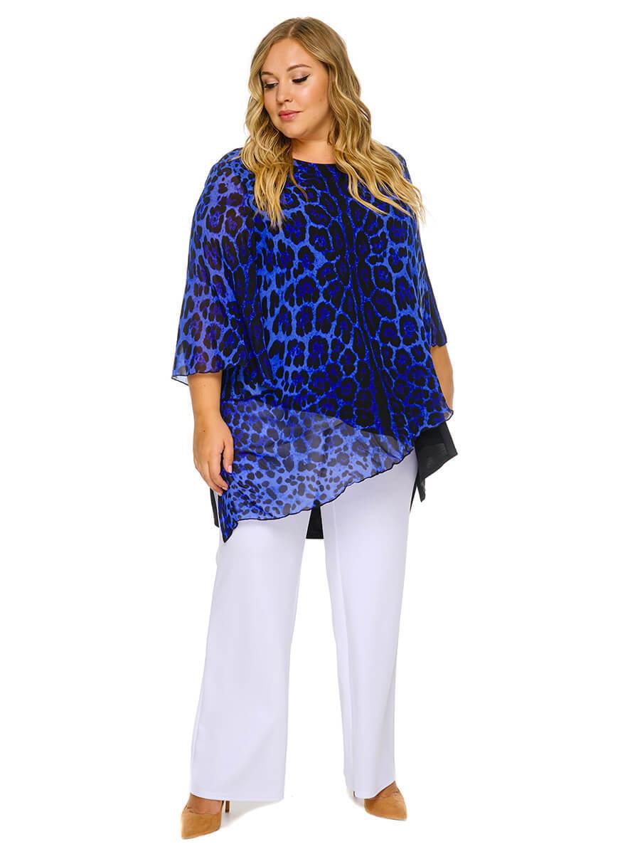Туника многоуровневая Синий леопард