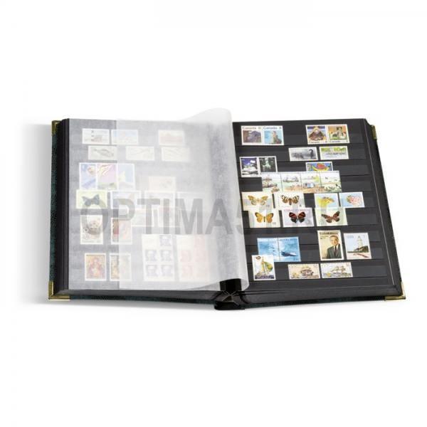 Альбом для марок, на 64 стр. по 9 прозрачных полосок на черном фоне, формат А4, тиснение под кожу рептилии, уголки. Без шубера. Промежуточные листы из пергамина.