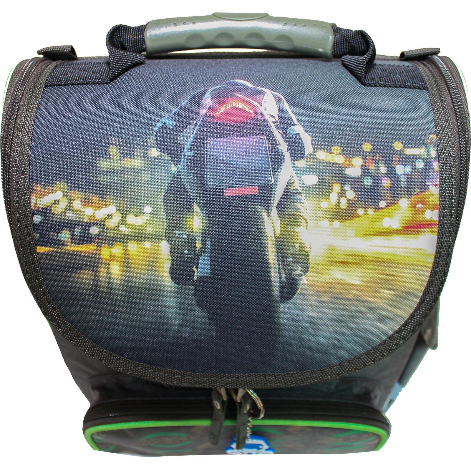 Рюкзак школьный каркасный с фонариками Bagland Успех 12 л. хаки 270к (00551703)