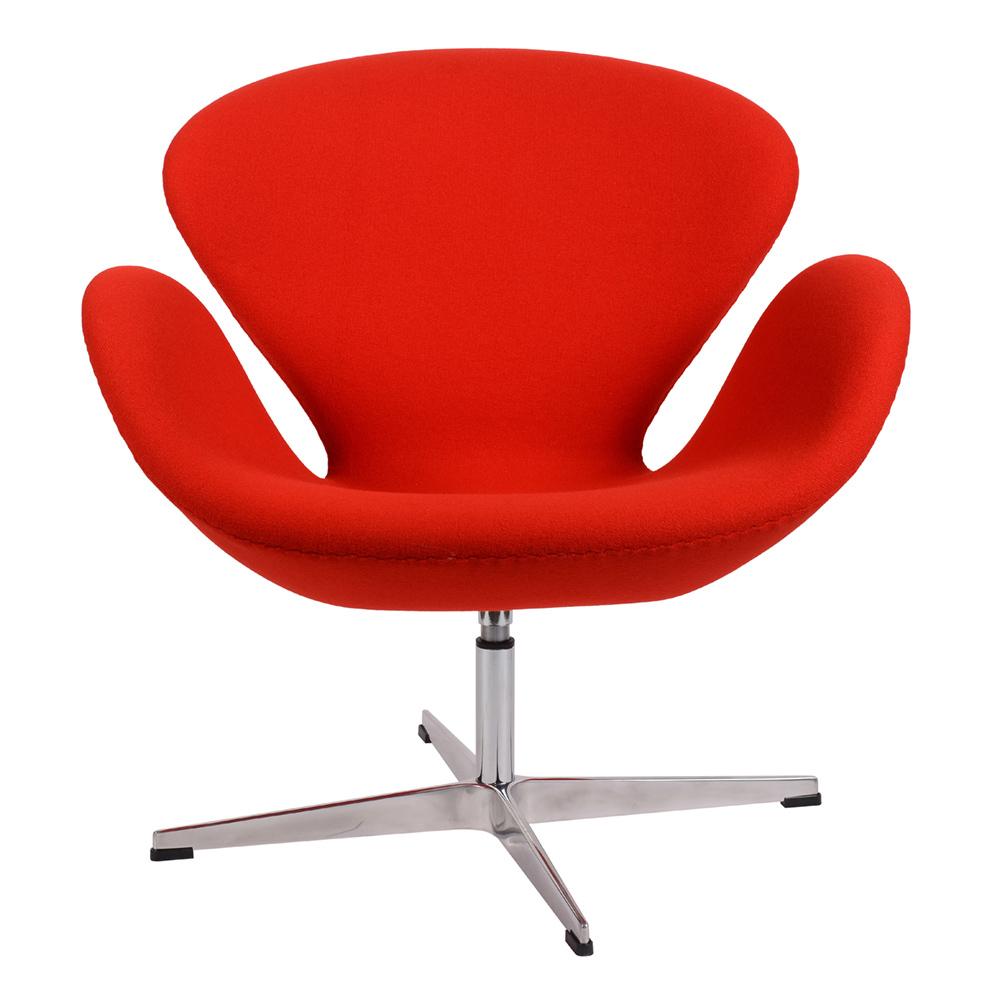 Кресло Arne Jacobsen Style Swan Chair красная шерсть - вид 2