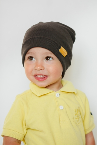 Детская шапка хлопковая в рубчик горький шоколад