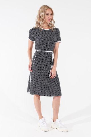 Фото летнее легкое темно-синее платье с геометрическим принтом и коротким рукавом - Платье З449-544 (1)