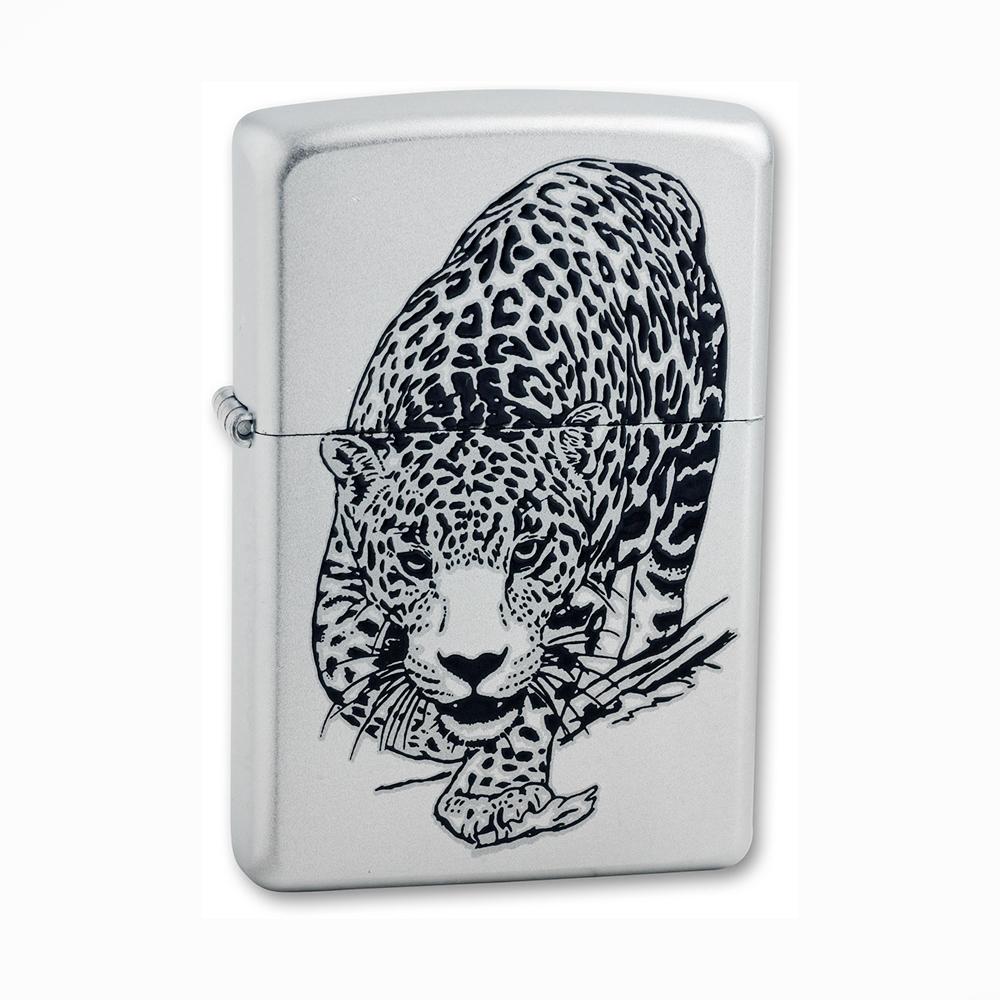 Зажигалка Zippo Leopard с покрытием Satin Chrome™, латунь/сталь, серебристая, матовая, 36x12x56