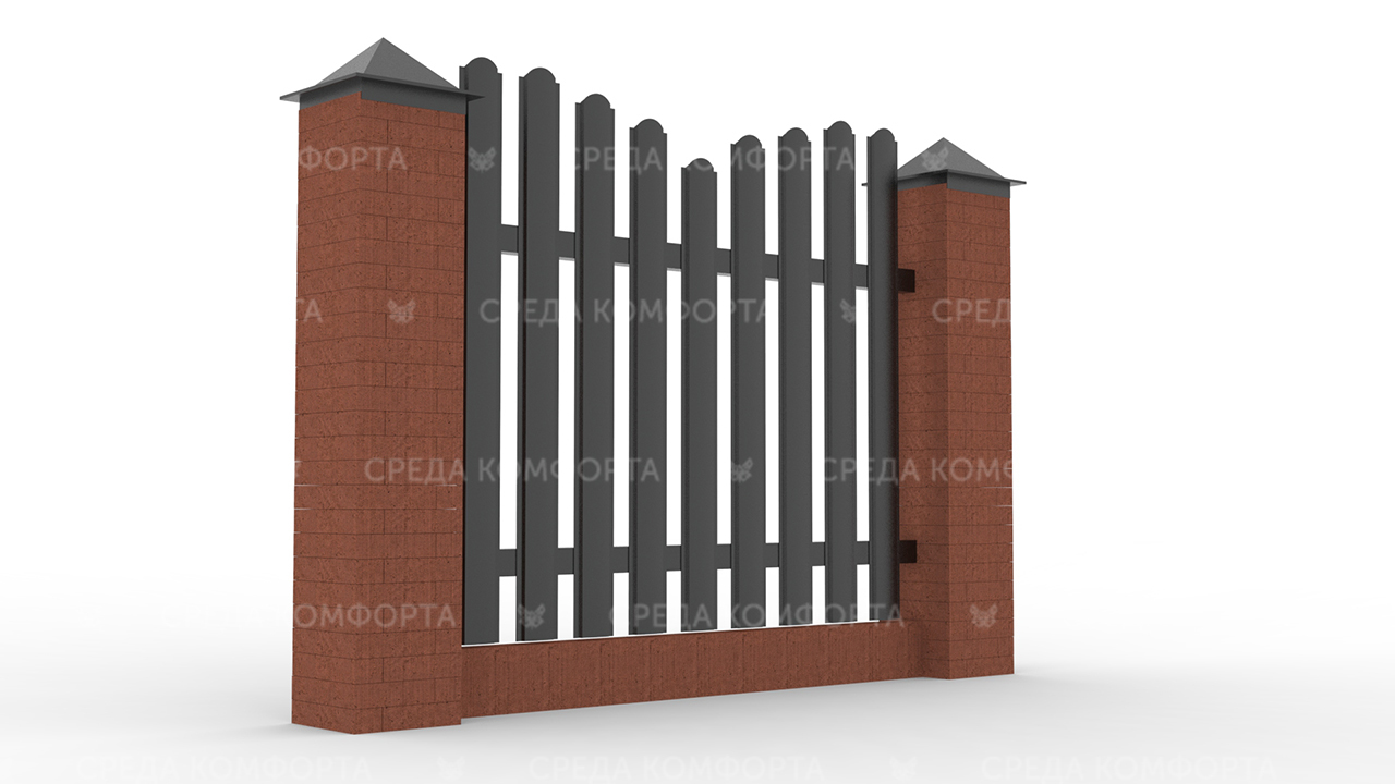 Забор из евроштакетника ZBR0063