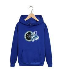 Толстовка синяя с капюшоном (худи, кенгуру) и принтом Знаки Зодиака, Водолей (Гороскоп, horoscope) 001