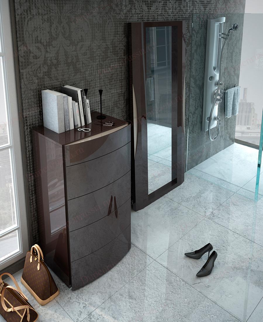 Комод вертикальный FENICIA А3008 BARCELONA шоколад, Зеркало FENICIA 5103 BARCELONA шоколад
