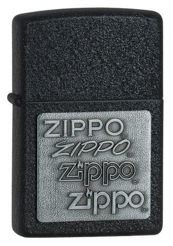 Зажигалка Zippo с покрытием Black Crackle, латунь/сталь, чёрная, матовая, 36x12x56 мм