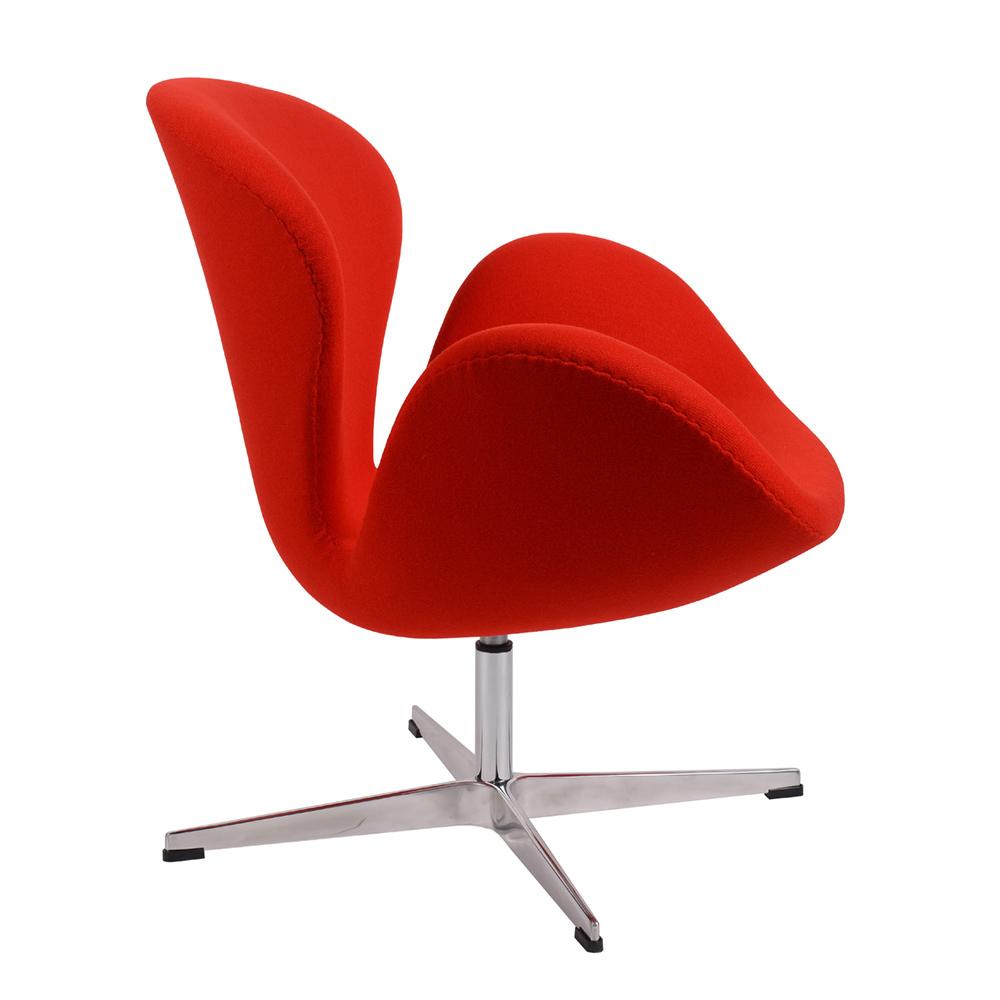 Кресло Arne Jacobsen Style Swan Chair красная шерсть - вид 3