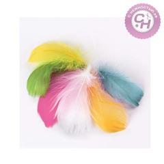 Перья декоративные 5-8 см, 24 шт, 6 пастельных цветов.