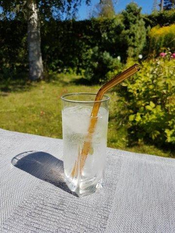 Трубочка стеклянная изогнутая янтарная
