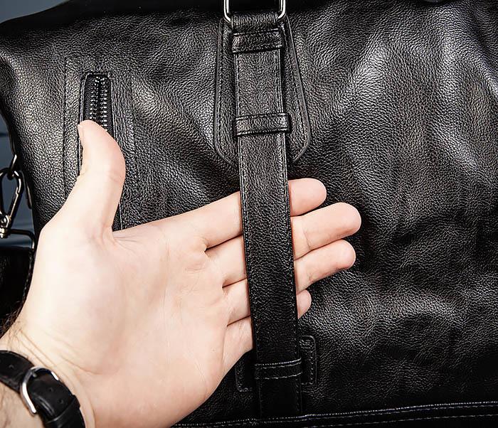 BAG543 Крупная дорожная сумка из кожи черного цвета фото 10