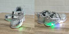 Обувь дет. № 4 Кроссовки КРЫЛЬЯ Светящиеся Серебристые