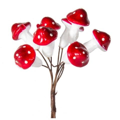 Набор грибов на вставках 8шт., размер: D2,3x3xL11см, цвет: белый/красный