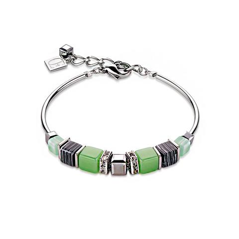 Браслет Coeur de Lion 4766/30-0522 цвет зелёный, белый, серый
