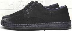 Мокасины черные туфли мужские летние smart casual для мужчин Luciano Bellini 91754-S-315 All Black.