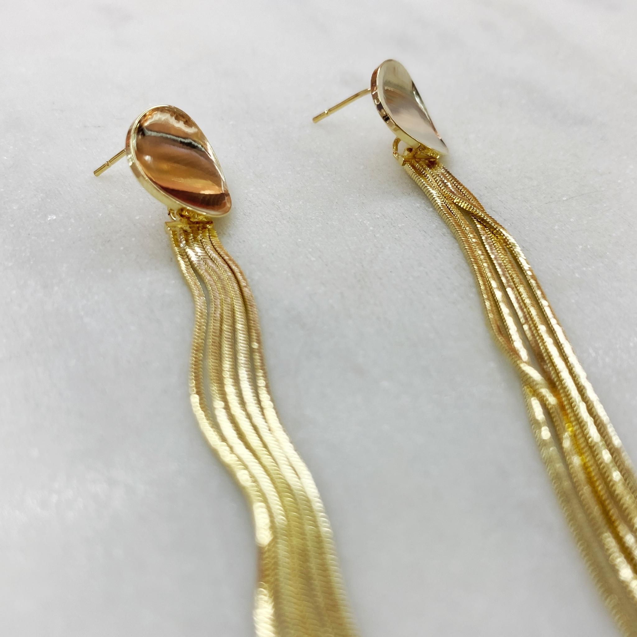 Серьги с кисточками на круглом основании (золотистый)