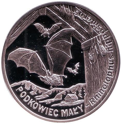 20 злотых. Летучая мышь - Малый подковонос. 2010 год. Польша.