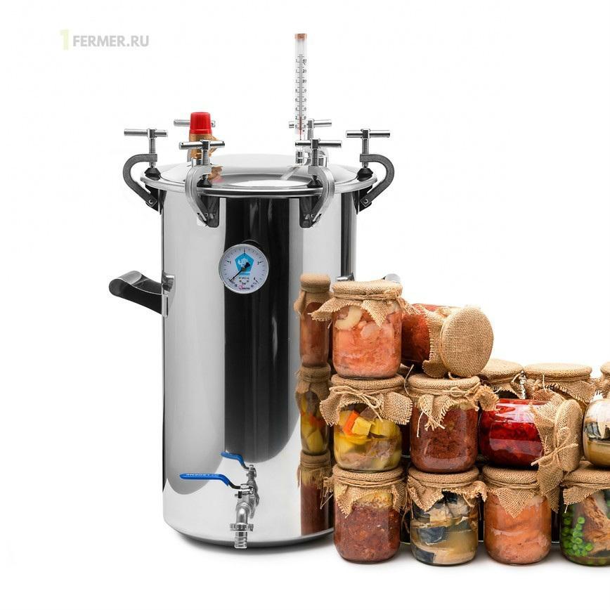 Автоклав Домашний Стандарт   24 литра, с индивидуальными зажимами для банок  15 шт., для консервирования на пару и воде, сталь AISI 304, быстрое  остывание, прижимные винты – официальный интернет-магазин техники 1Fermer.Ru