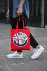 Мужская сумка-шоппер с принтом Альфа Ромео (Alfa Romeo) красная 001