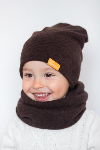 детская шапка из турецкой шерсти горький-шоколад