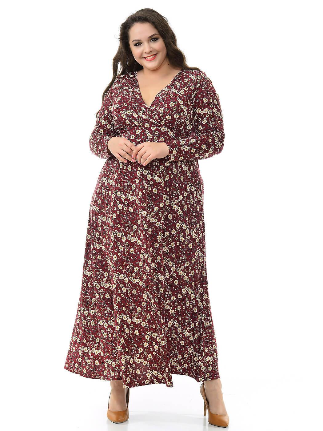 Бордовое платье в цветах 76 размера