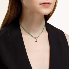 94070440 - Колье для девочек с подвеской ПАНДА из серебра с эмалью