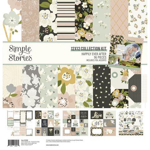 Набор листов двухсторонней бумаги с одним листом стикеров Simple Stories - HAPPILY EVER AFTER - 30x30см