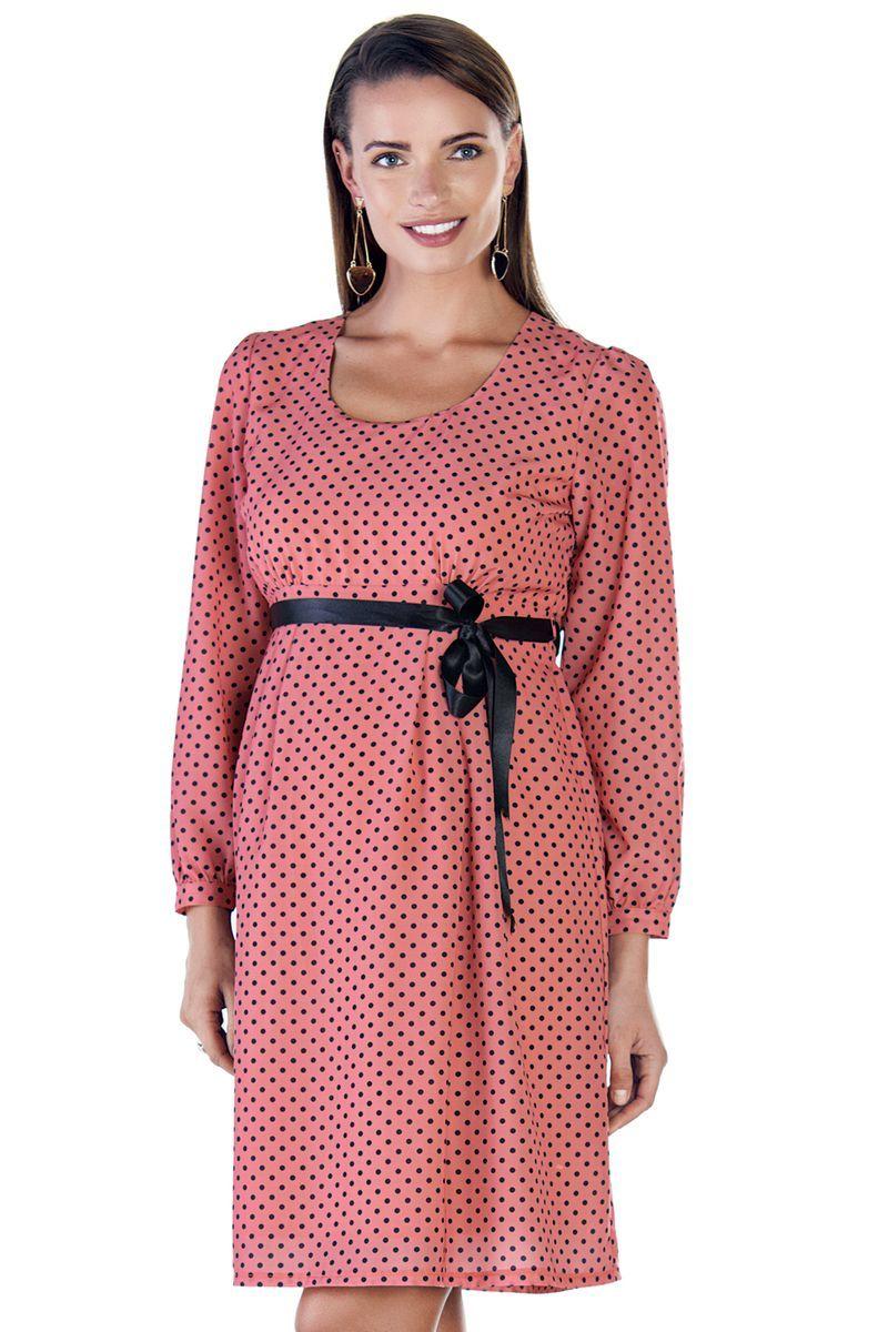 Фото платье для беременных EBRU от магазина СкороМама, розовый, горошек, размеры.