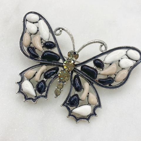Брошь Бабочка Мозаичные Крылья белый беж черный