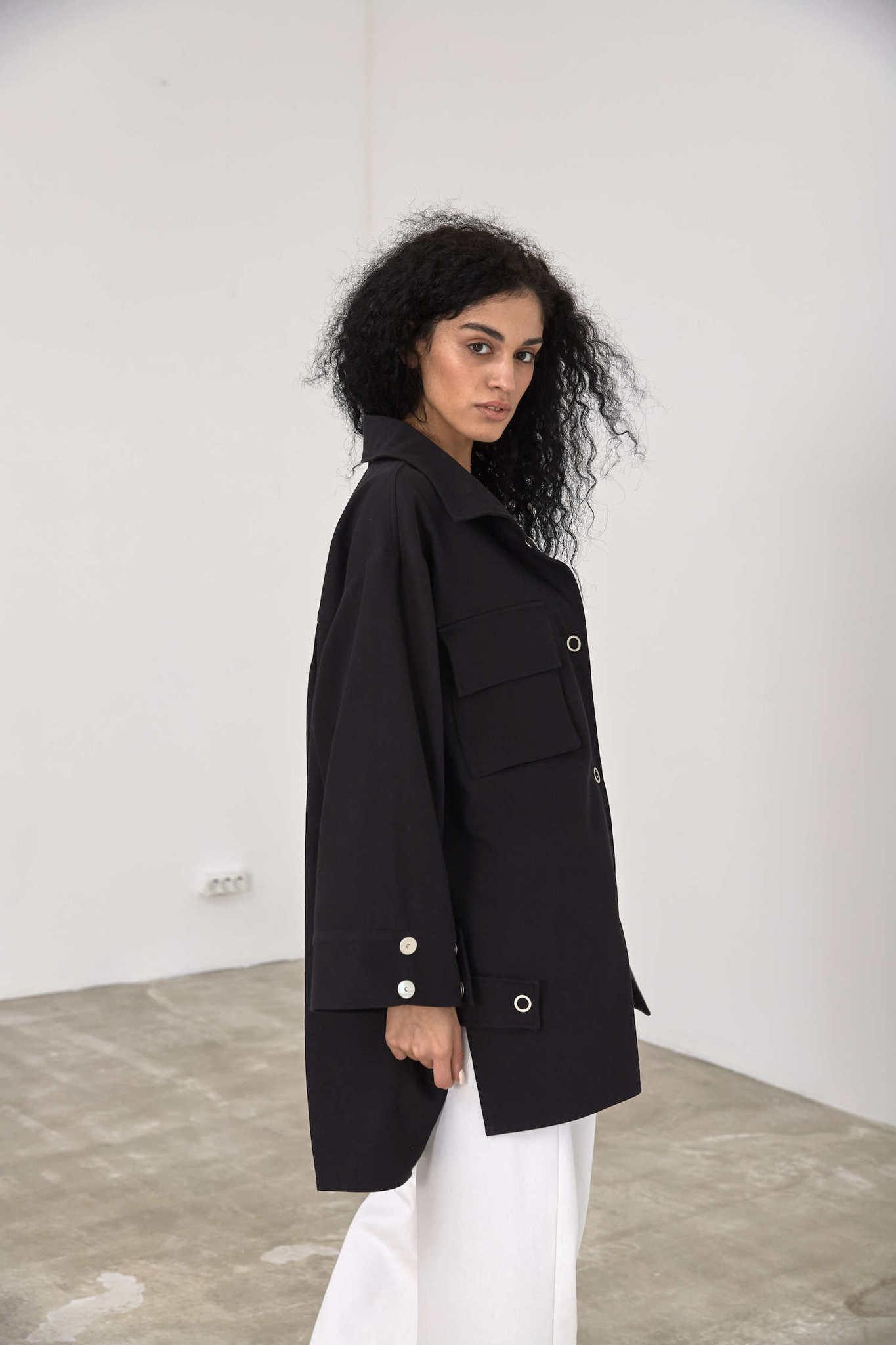 Куртка-рубашка на кнопках, черный деним
