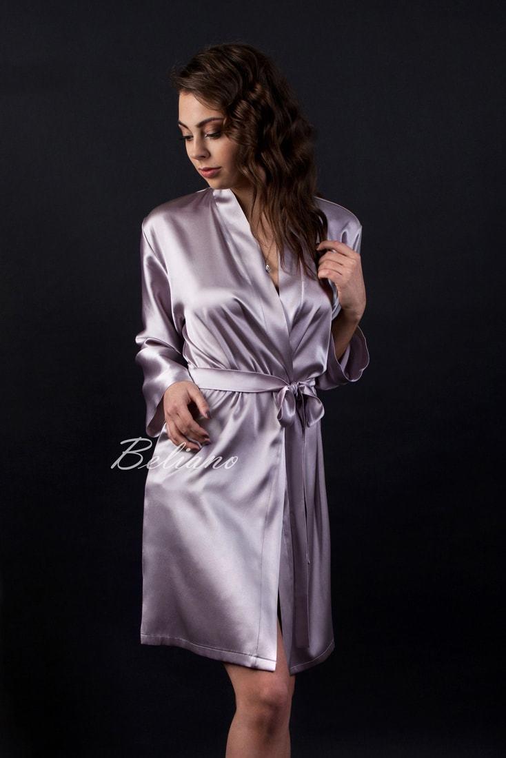 Короткий женский шелковый халат аметист благородный цвет натуральный шелк купить в магазине в Украине