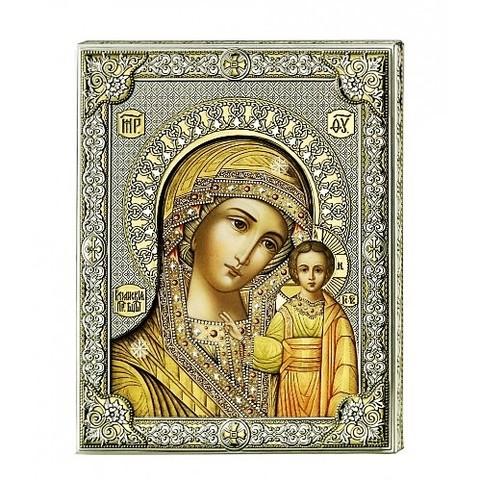 Серебряная икона Божьей Матери Казанской