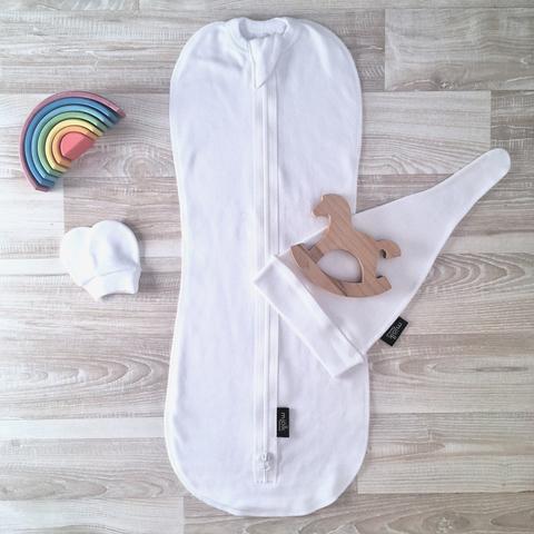 Комплект White (пеленальный кокон, шапочка, антицарапки)