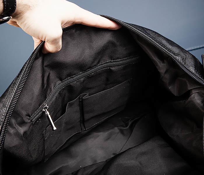 BAG543 Крупная дорожная сумка из кожи черного цвета фото 15