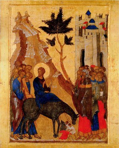 Икона Вход Господень в Иерусалим на дереве на левкасе мастерская Иконный Дом