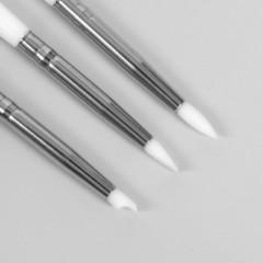 Набор инструментов: силиконовая кисть - дотс 2 шт, силиконовая кисть - пушер, 15 см, цвет белый