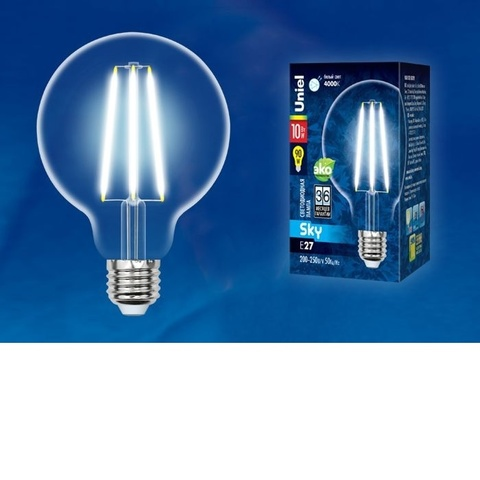 Лампа светодиодная UNIEL LED-G95-10W/4000K/E27/CL PLS02WH