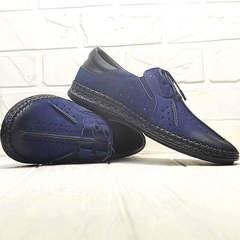 Кожаные туфли мокасины мужские лето Luciano Bellini 91268-S-321 Black Blue.