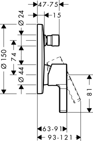 Смеситель для ванны встроенный Hansgrohe Metris S,  31465000 схема