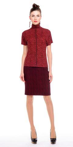Фото бордовая трикотажная юбка-карандаш с эффектом вязки - Юбка Б053-361 (1)
