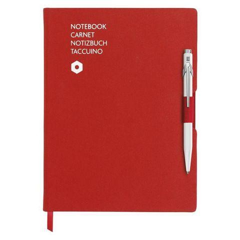 Записная книжка и ручка Carandache Office (8491.403) A5 192стр красная и ручка 849 белая