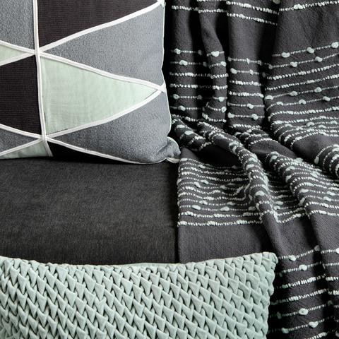 Покрывало из хлопка серого цвета с декоративной строчкой из коллекции Ethnic, 230х250 см