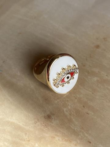 Кольцо-печатка Око белое, позолота