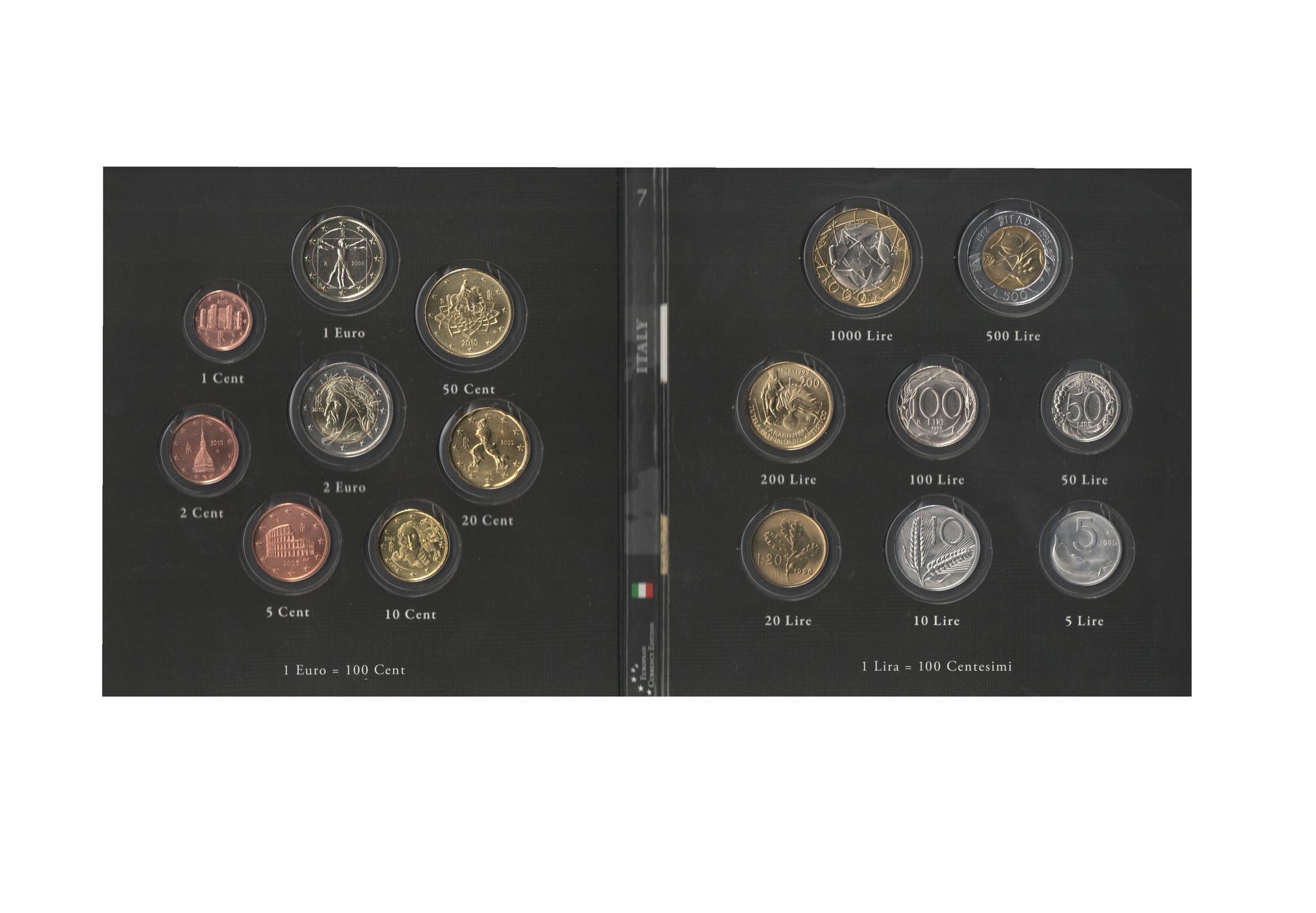 Набор монет 20 лет Евросоюзу. Италия