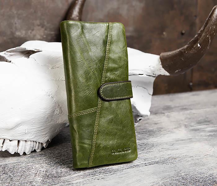 WL252-4 Клатч из натуральной кожи зеленого цвета фото 02