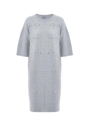 Женское платье цвета серый меланж из вискозы - фото 1