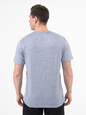 Мужская футболка «Великоросс» цвета серый меланж V ворот