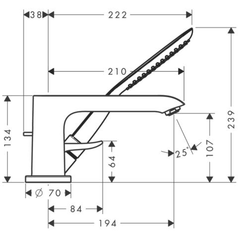 Смеситель на борт ванны 3 отв. Hansgrohe Metris 31190000 схема
